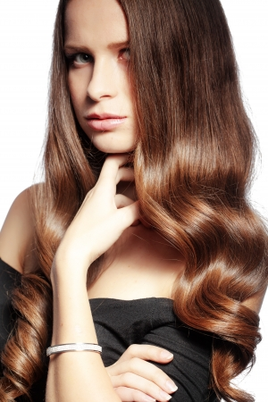Portrait of young beautiful woman with long glossy hair Stock Photo - 17333104