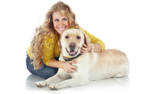 Portrait of happy girl with her dog isolated on white background Stock Photo - 17332868