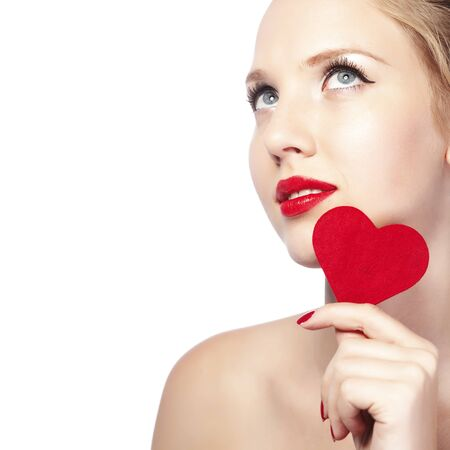 Beautiful gorgeous woman with glamour bright makeup and red heart Stock Photo - 17382156