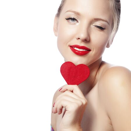Beautiful gorgeous woman with glamour bright makeup and red heart Stock Photo - 17382162
