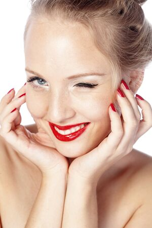 winking: Beautiful face with glamour bright makeup Stock Photo