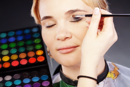 Studio series of doing fashion makeup photo