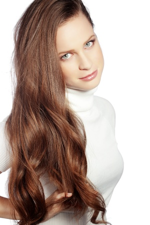 Portrait of young beautiful woman with long glossy hair Stock Photo - 17382145