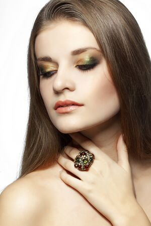 attractive gorgeous: Closeup portrait of beautiful face with perfect makeup Stock Photo