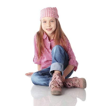girl boots: Portrait of little fashion girl Stock Photo