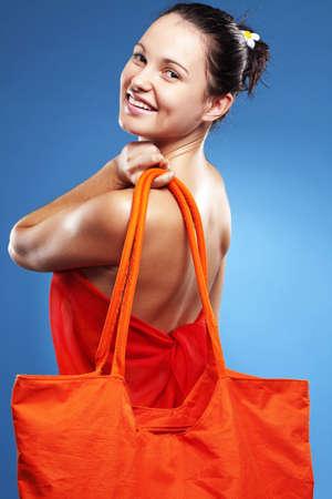 Beautiful young woman wearing big summer bag studio series Stock Photo - 18569037