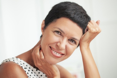 mature brunette: Portrait of beautiful middle aged woman