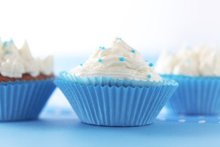 Group of blue cupcakes selective focus Stock Photo - 18818876