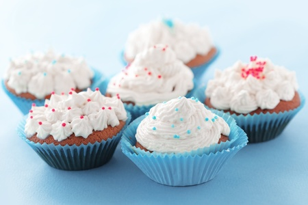 Group of blue cupcakes selective focus Stock Photo - 18818871