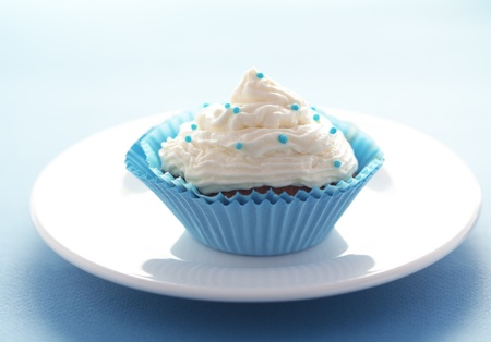 Group of blue cupcakes selective focus Stock Photo - 18818864