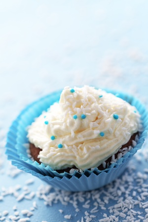 Group of blue cupcakes selective focus Stock Photo - 18818884
