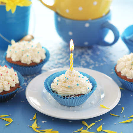 Group of blue cupcakes selective focus Stock Photo - 18818881