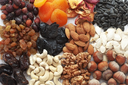 Variety of 12 assorted nuts and dried fruits photo