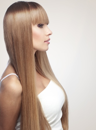 Portrait of beautiful girl with perfect long shiny blond hair studio shot photo