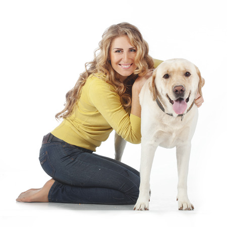endear: Portrait of happy girl with her dog