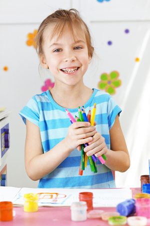 facial painting: Child painting in the kindergarten