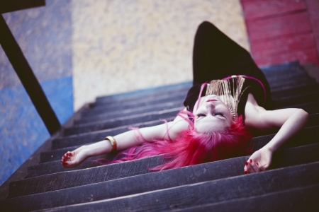 Street portrait of bright teenage girl with vivid pink hair Stock Photo - 23667625