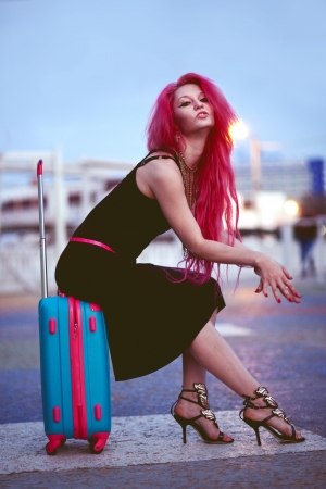 Street portrait of bright teenage girl with vivid pink hair Stock Photo - 23667627