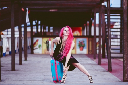 Street portrait of bright teenage girl with vivid pink hair Stock Photo - 23667628
