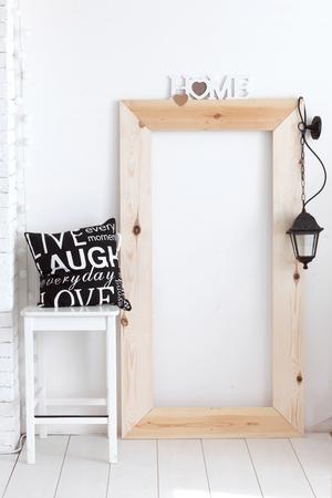 Black and white vintage interior decor in scandinavian style photo