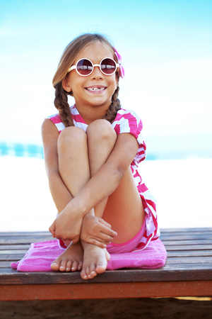 preteens beach: Child resting at the summer beach
