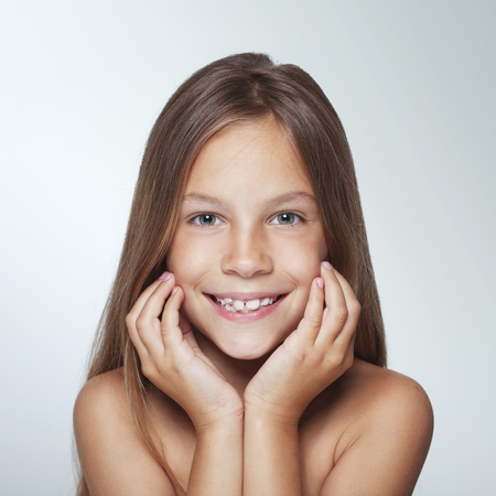 7 years old: Portrait of 7 years old smiling kid girl