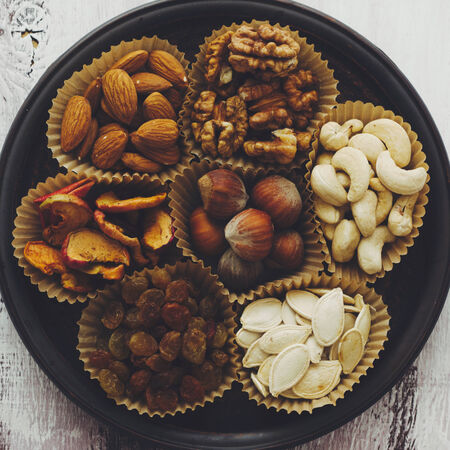 top 7: Variety of 7 assorted nuts and dried fruits, top view