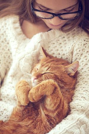 Cute gember kat slaapt opwarming in gebreide trui op de handen van zijn eigenaar