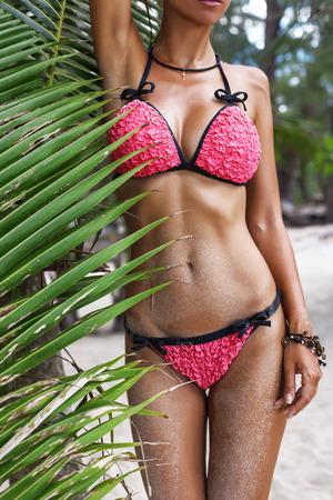 bikini island: Beautiful womans body in fashion bikini on the palm tree beach