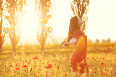 woman in field: Young woman enjoying nature and sunlight in poppy field Stock Photo