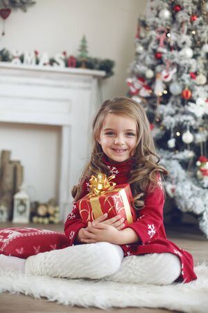 receives: 5 years old little girl receives present from Santa Claus near Christmas tree in morning at home Stock Photo