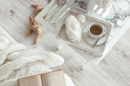 Natürmort detayları oturma odası, üstten görünüm noktasında bir sehpa üzerinde Retro bağbozumu ahşap tepsi üzerinde çay bardağı. Kanepe üzerinde bir kitap ile Tembel kış Haftasonu. Stok Fotoğraf