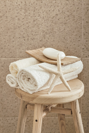 Hotel Bathroom Decor Closeup. White Towels, Soap, Loofah And.. Stock ...