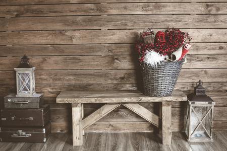 Winter domova. Vánoční rustikální interiér. Statek dekorace styl.