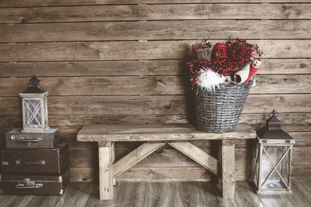 barns: Winter home decor. Christmas rustic interior. Farmhouse decoration style.