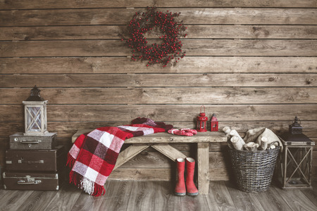 basket: Winter home decor. Christmas rustic interior. Farmhouse decoration style.