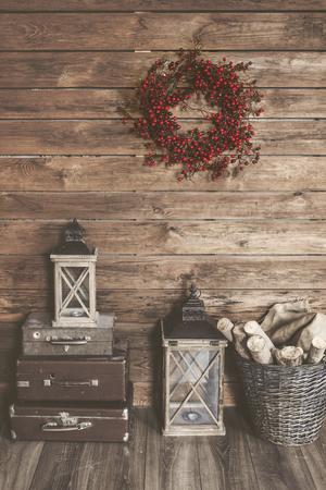 Maison Hiver décor. Noël intérieur rustique. Ferme style de décoration.