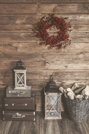 old fashioned christmas: Winter home decor. Christmas rustic interior. Farmhouse decoration style.