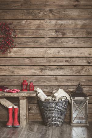 christmas decor: Winter home decor. Christmas rustic interior. Farmhouse decoration style.
