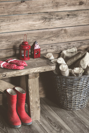 old barn in winter: Winter home decor. Christmas rustic interior. Farmhouse decoration style.
