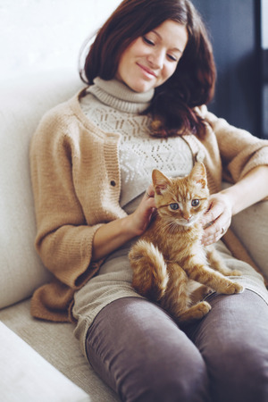 house cat: Young woman wearing warm sweater is resting with a cat on the armchair at home one autumn day