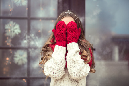 Child girl waiting for Cristmas day