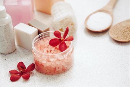 details: Spa decoration, natural organic bath products set