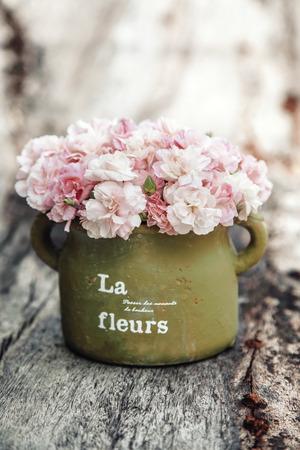 fleurs shabby chic dans un pot en argile sur fond de bois rustique Banque d'images