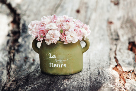 Shabby chic flowers in clay pot on rustic wooden background