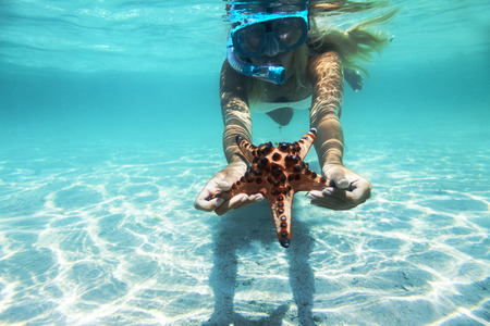 etoile de mer: Woman is snorkeling underwater, showing starfish Banque d'images