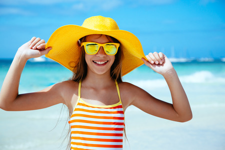 girls in bikini: 10 years old child girl playing on the beach on tropical island. Philippines, Boracay.