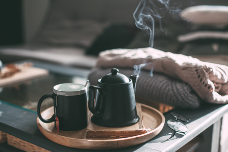 Still life details in home interior of living room. Sweaters and cup of tea with steam on a serving tray on a coffee table. Breakfast over sofa in morning sunlight. Cozy autumn or winter concept. Archivio Fotografico