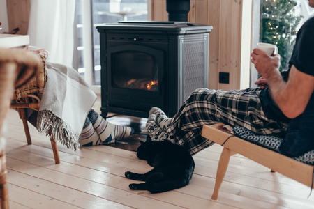 Family and cat relaxing in armchair by the fire place in wooden cabin. Warm and cozy winter holiday concept. Stockfoto
