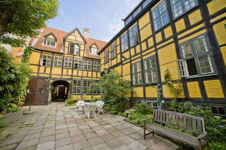 Traditional danish yard of private house, taken in Copenhagen